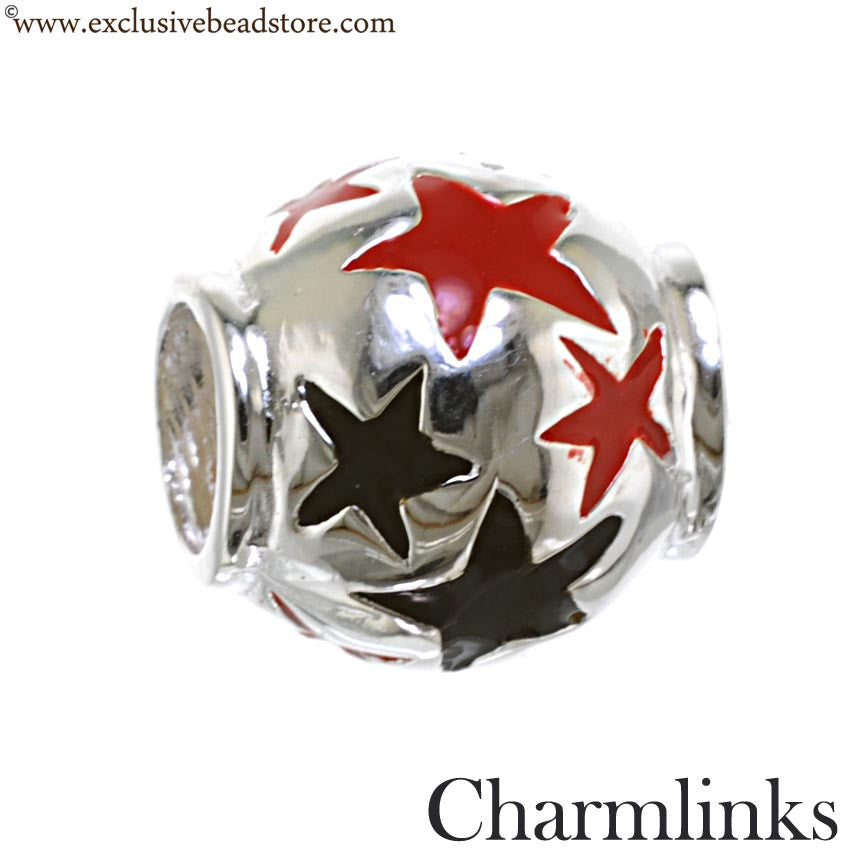 Charmlinks Silver and Enamel Star Bead