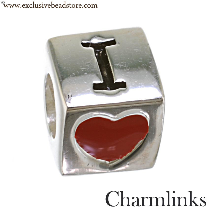 Charmlinks Silver and Enamel I Love Mom Bead