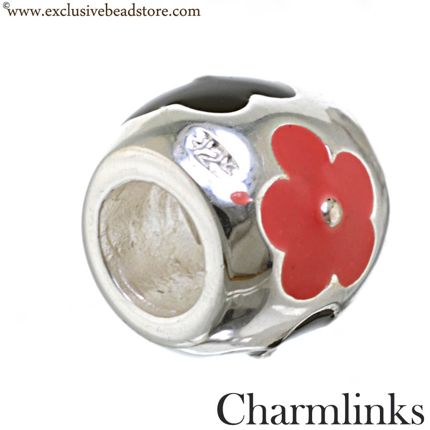 Charmlinks Silver and Enamel Flower Bead