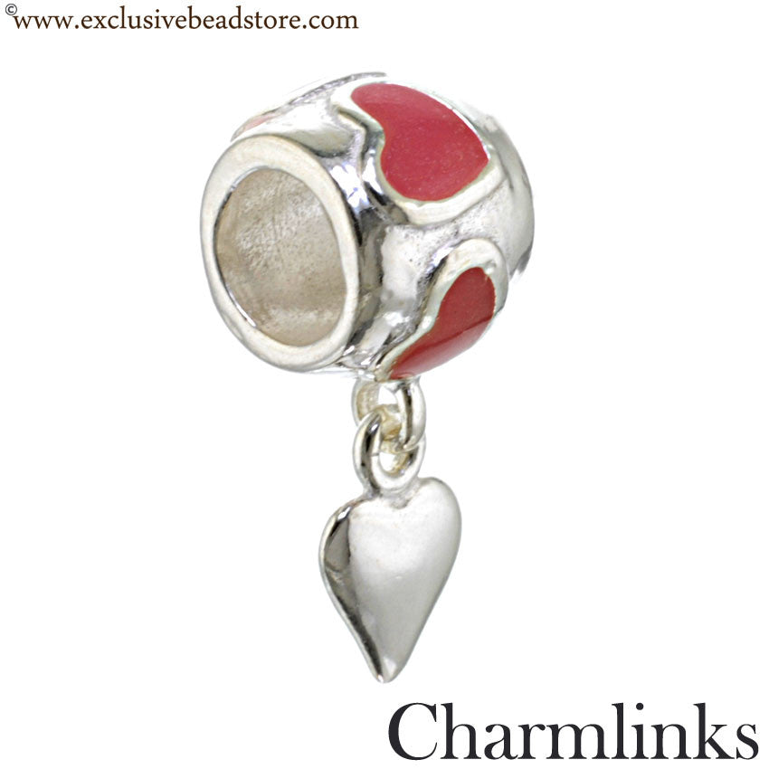 Charmlinks Silver and Enamel Dangling Heart Bead