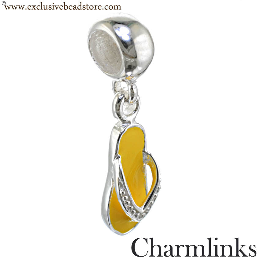 Charmlinks Silver and Enamel Flip Flop Bead