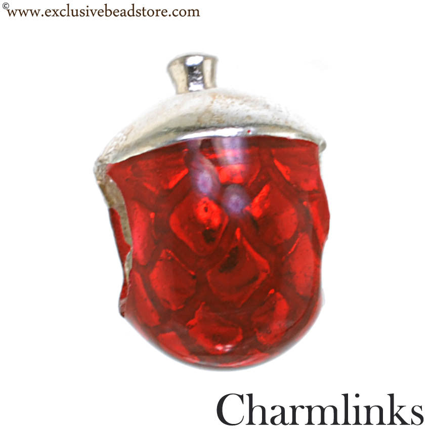 Charmlinks Silver and Enamel Acorn Bead