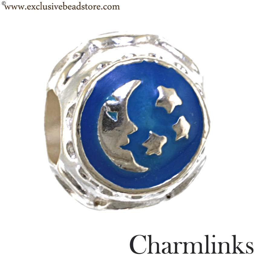 Charmlinks Silver and Enamel Sun, Moon and Star Bead