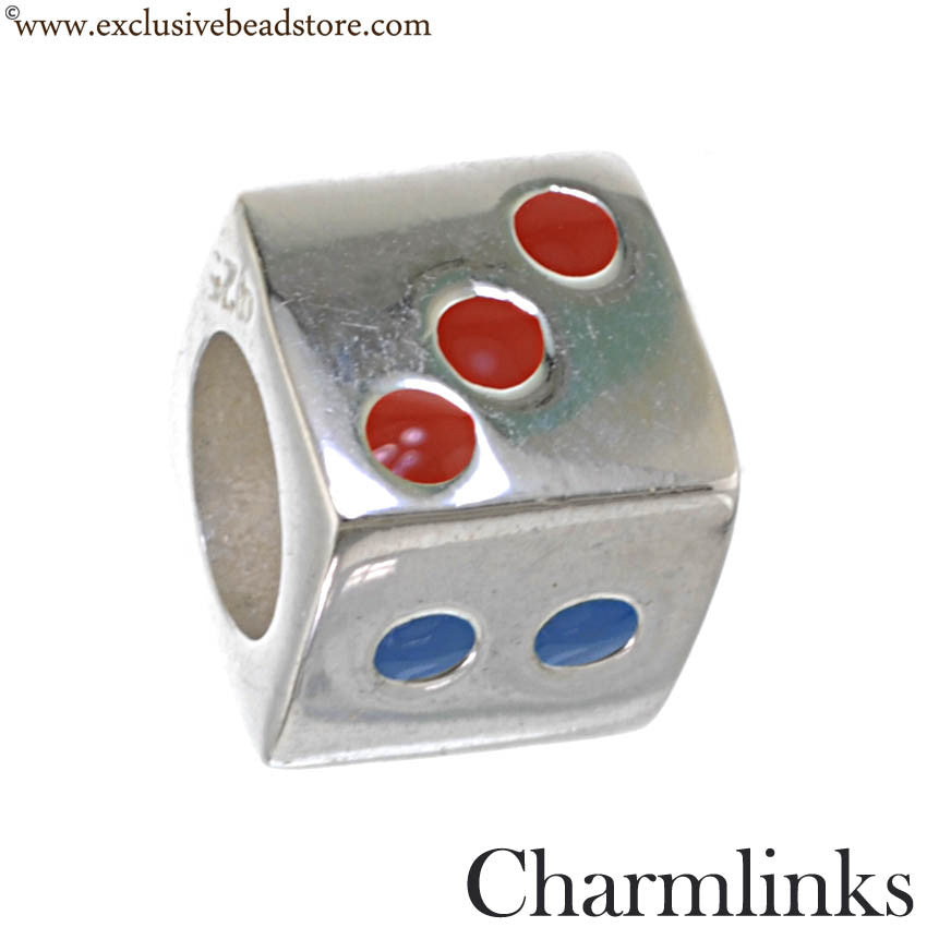Charmlinks Silver and Enamel Dice Bead