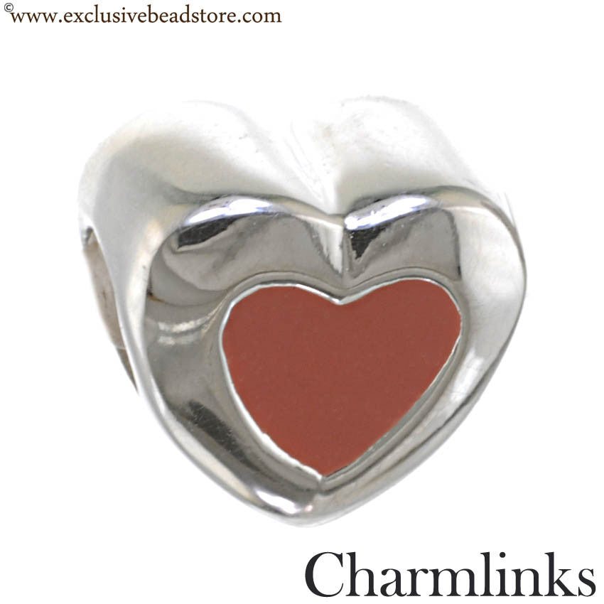 Charmlinks Silver and Enamel Heart Bead