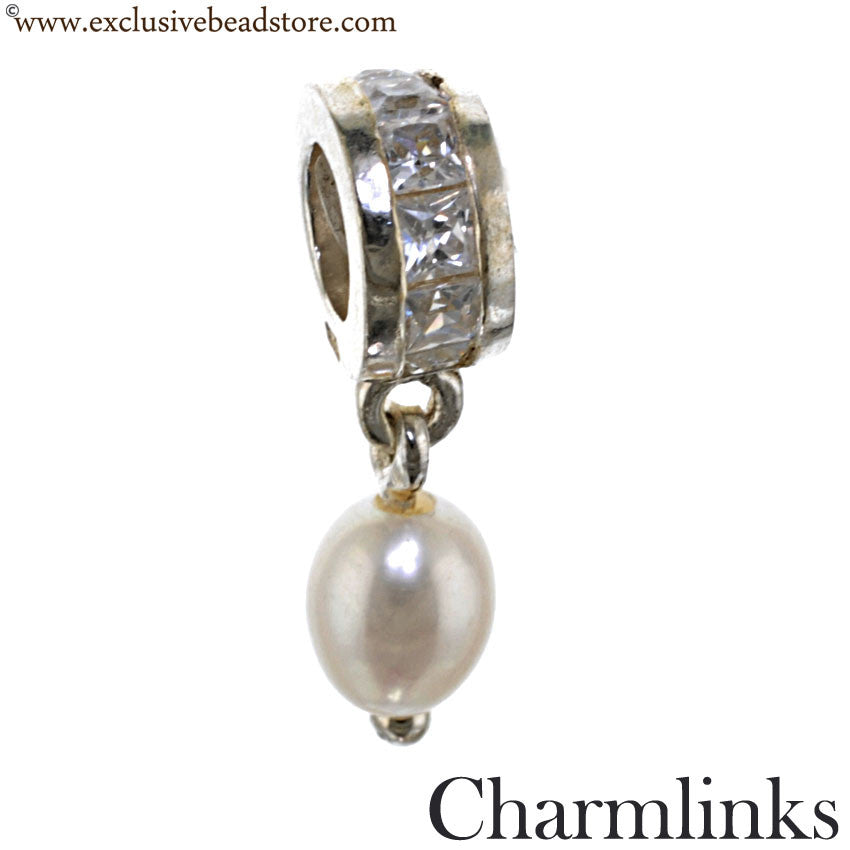 Charmlinks Silver, Cubic Zirconia and Pearl Dangling Bead