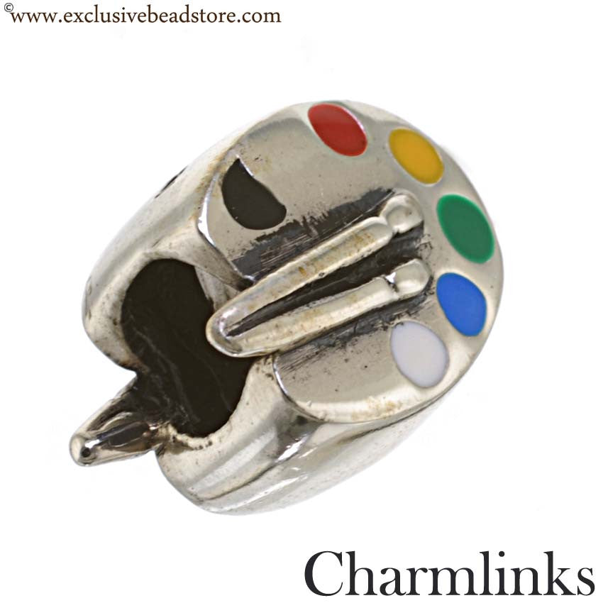 Charmlinks Silver and Enamel Paint Easel Bead