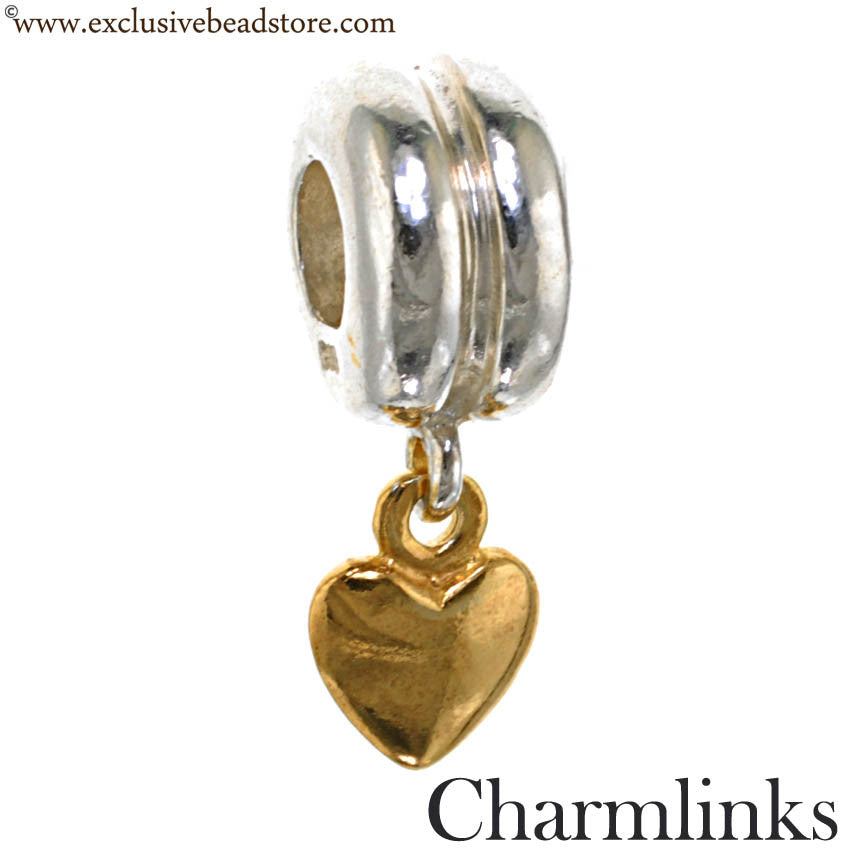 Charmlinks Silver and Gold Plated Dangling Heart Bead