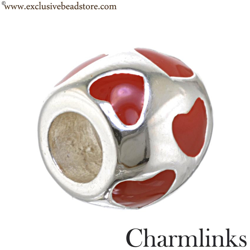 Charmlinks Silver and Enamel Hearts Bead