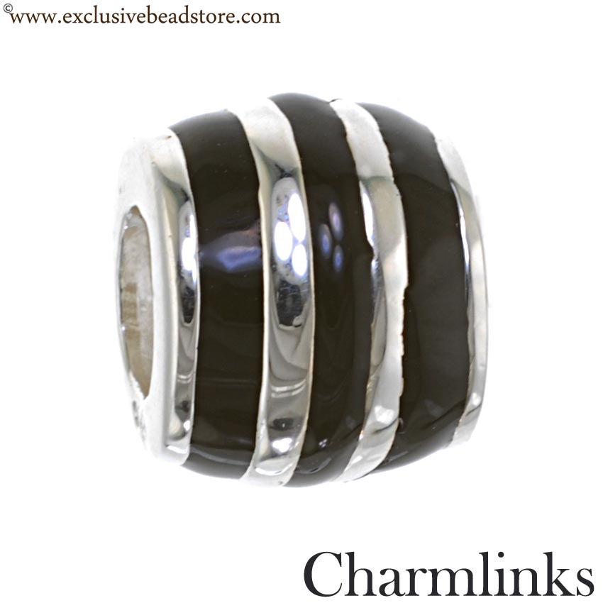Charmlinks silver and Enamel Humbug Bead