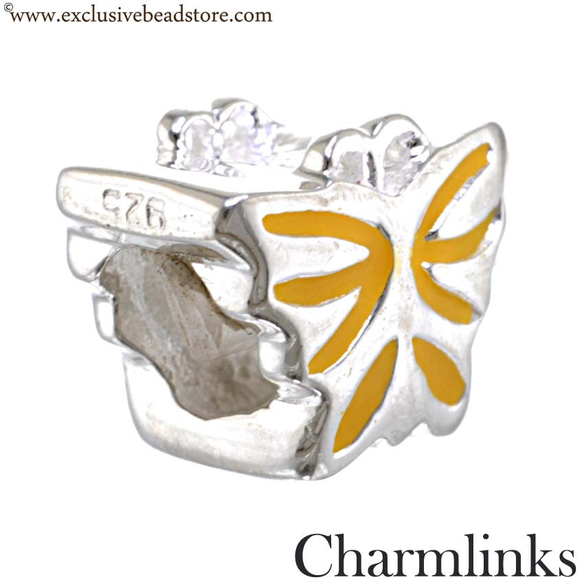 Charmlinks Silver and Enamel Butterfly Bead
