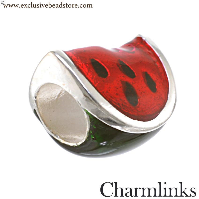Charmlinks Silver and Enamel Watermelon Bead