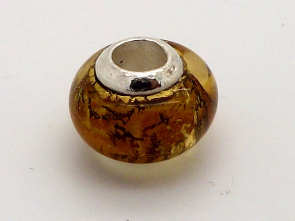 Charmlinks Gold Effect Glass Bead - Exclusive Bead Store