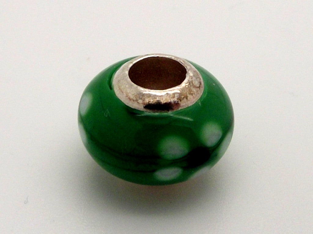 Charmlinks Green Flower Patterned Glass Bead - Exclusive Bead Store