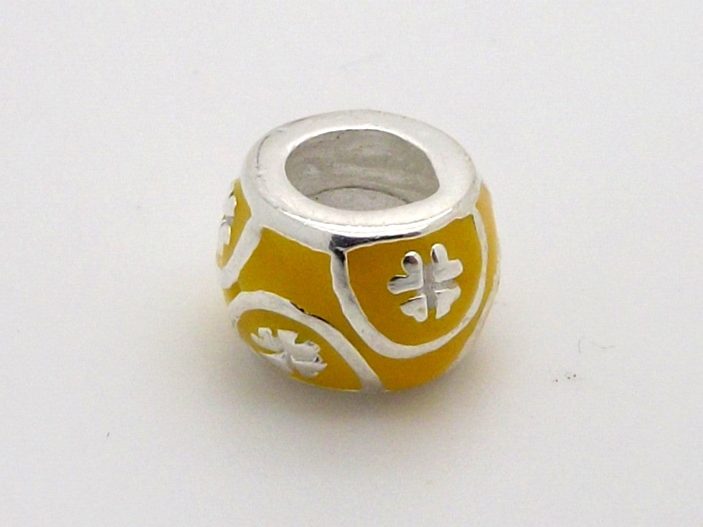 Charmlinks Silver and Yellow Enamel Bead