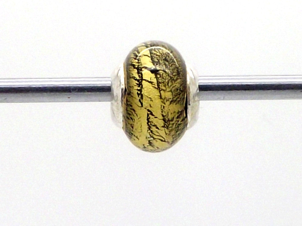Charmlinks Gold Leaf Effect Glass Bead - Exclusive Bead Store
