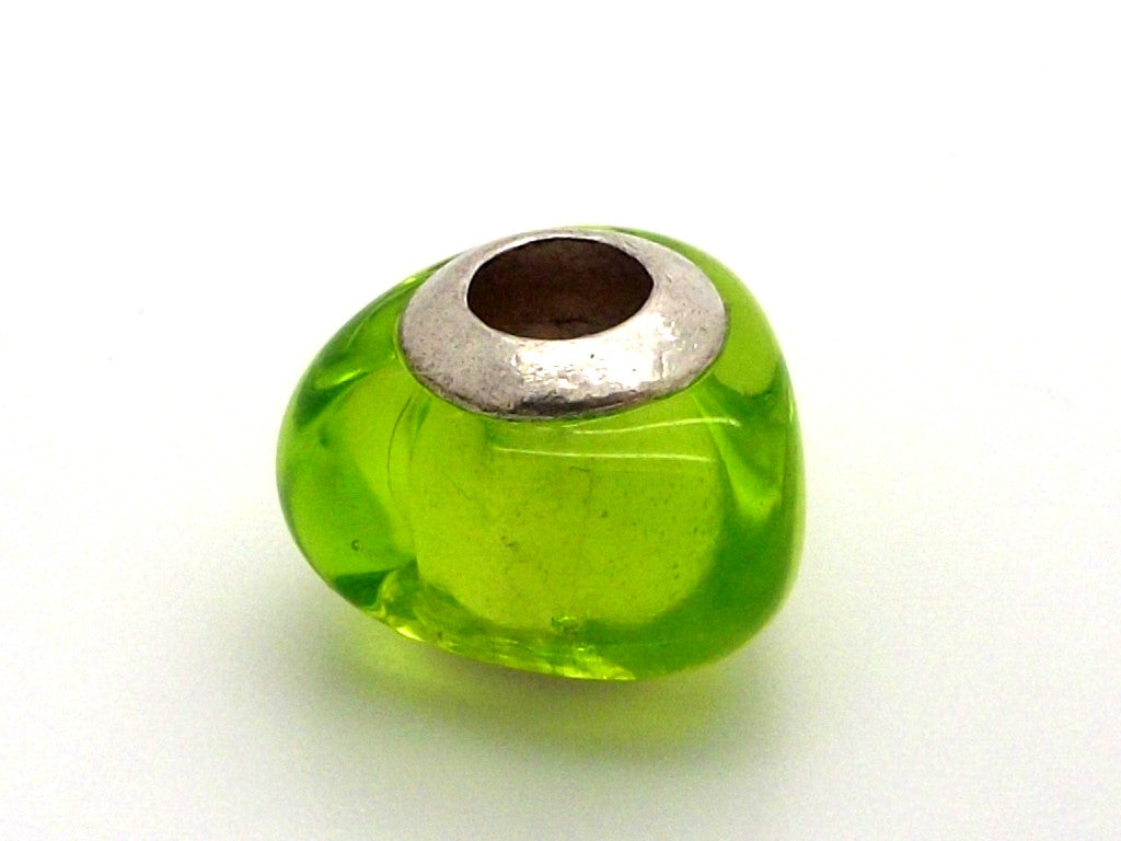 Charmlinks Triangular Green Glass Bead