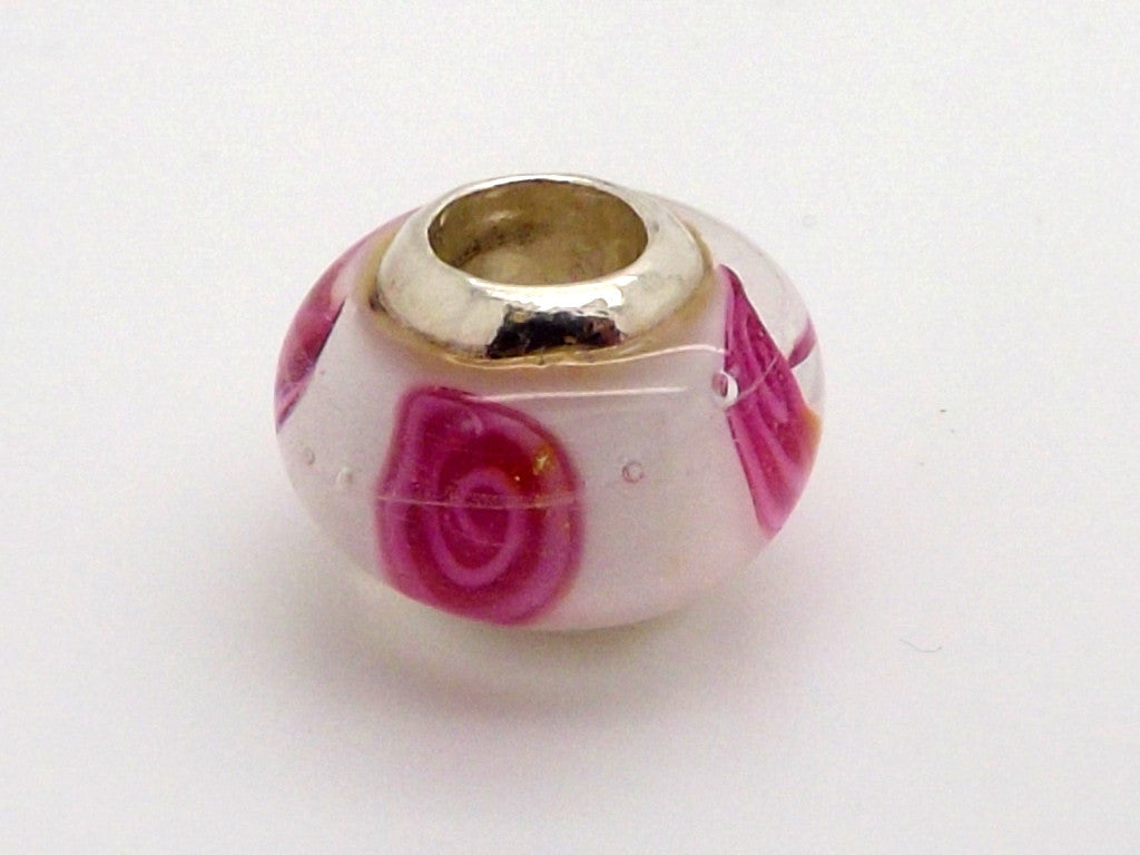 Charmlinks Pink and White Patterned Glass Bead