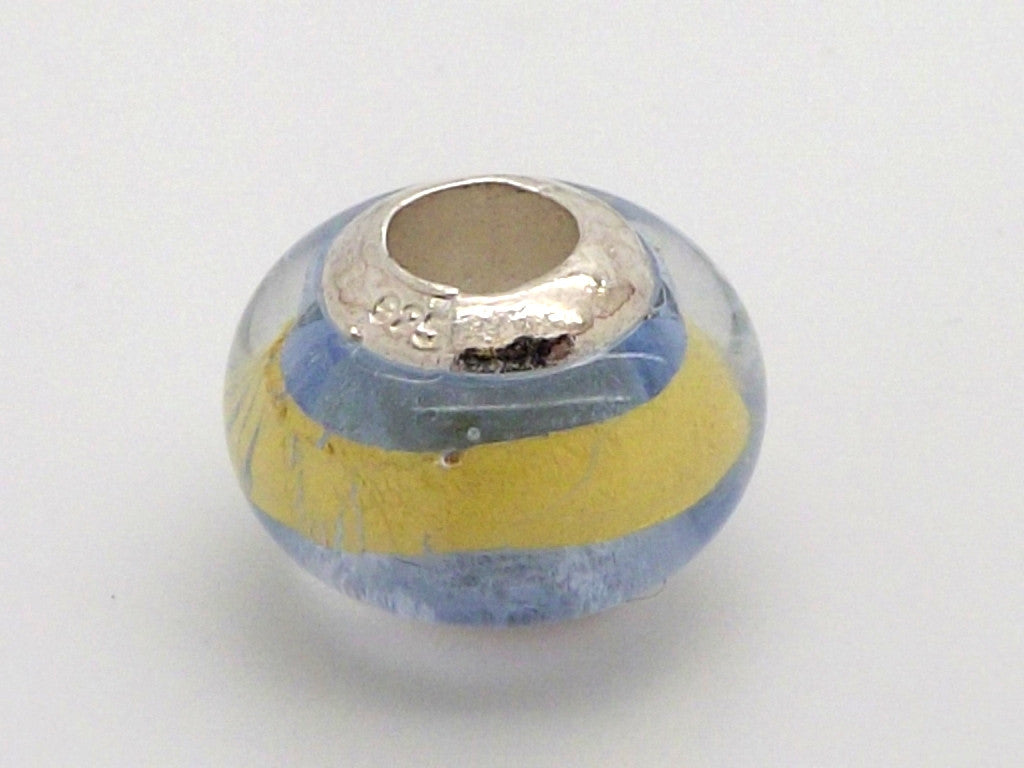 Charmlinks Gold Striped Clear Glass Bead - Exclusive Bead Store