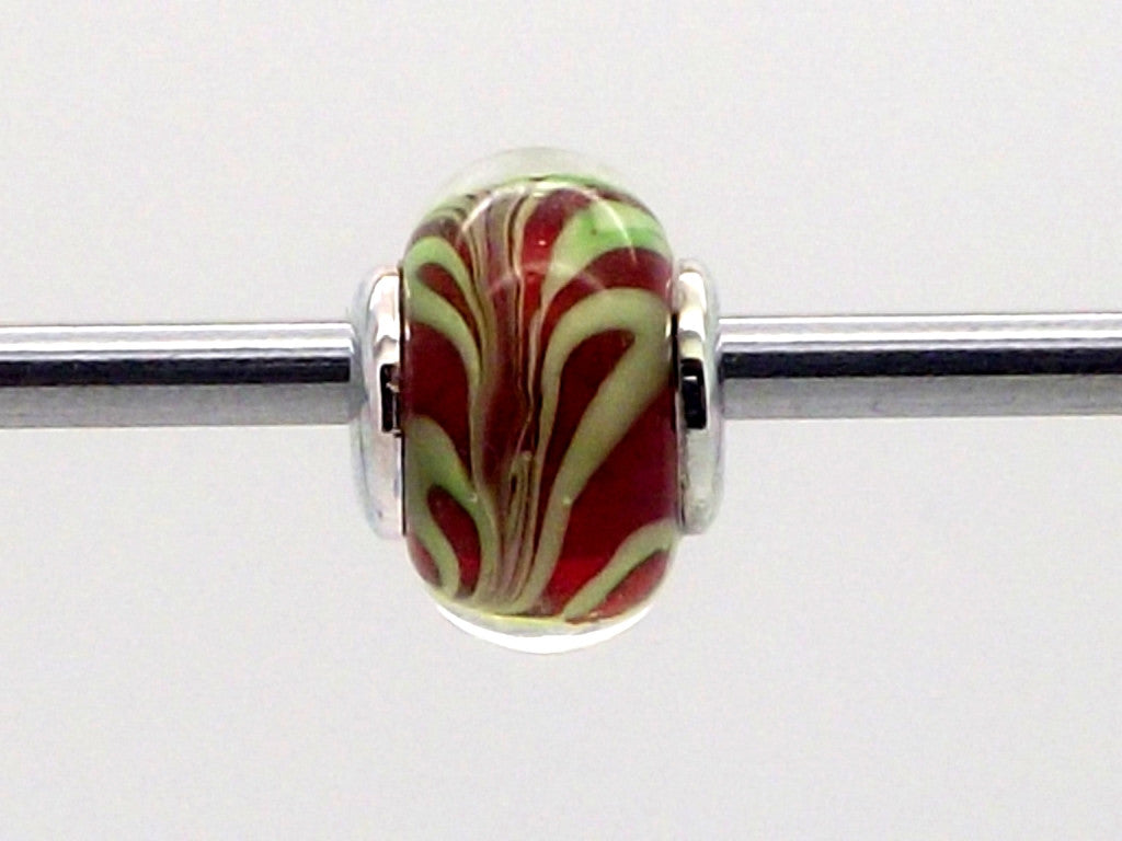 Charmlinks Red and Green Swirl Patterned Glass Bead