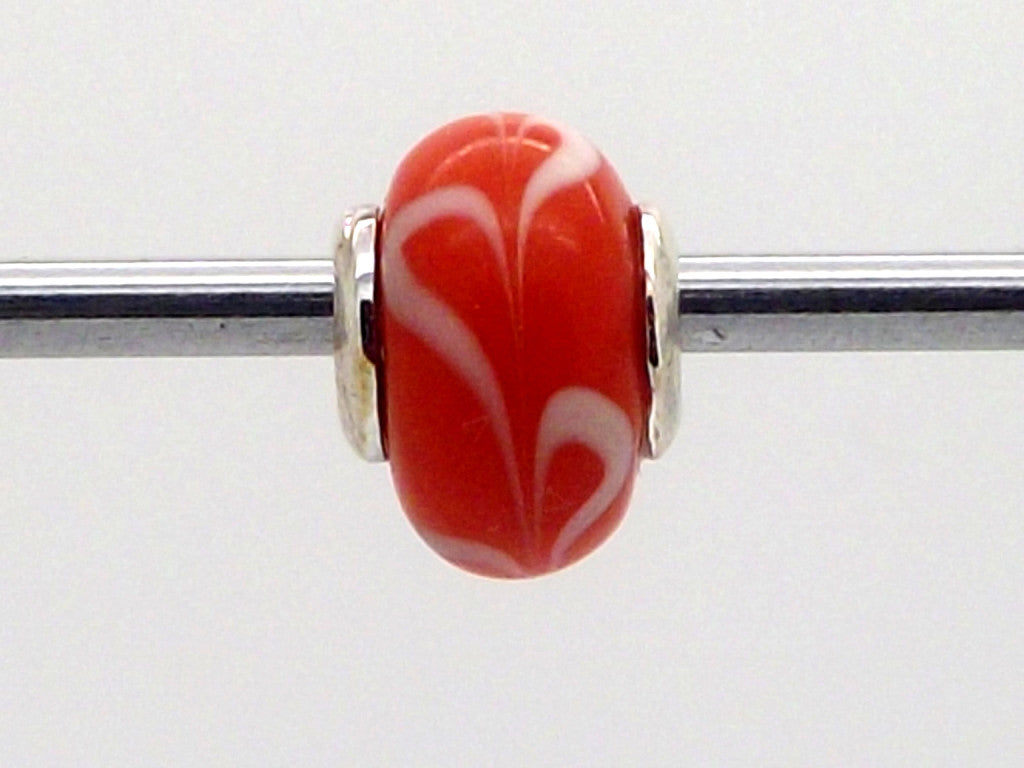 Charmlinks Red and White Swirl Patterned Glass Bead