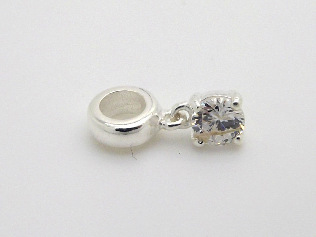 Charmlinks Silver bead with hanging zirconia