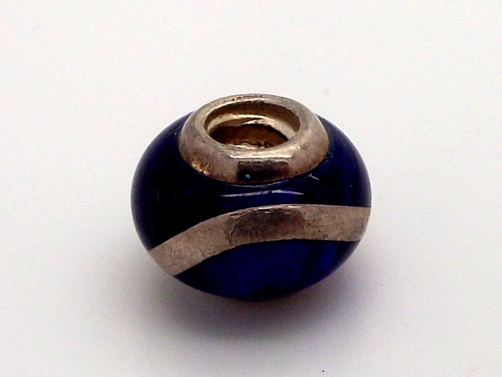 Charmlinks Blue Bead with Silver Strip - Exclusive Bead Store