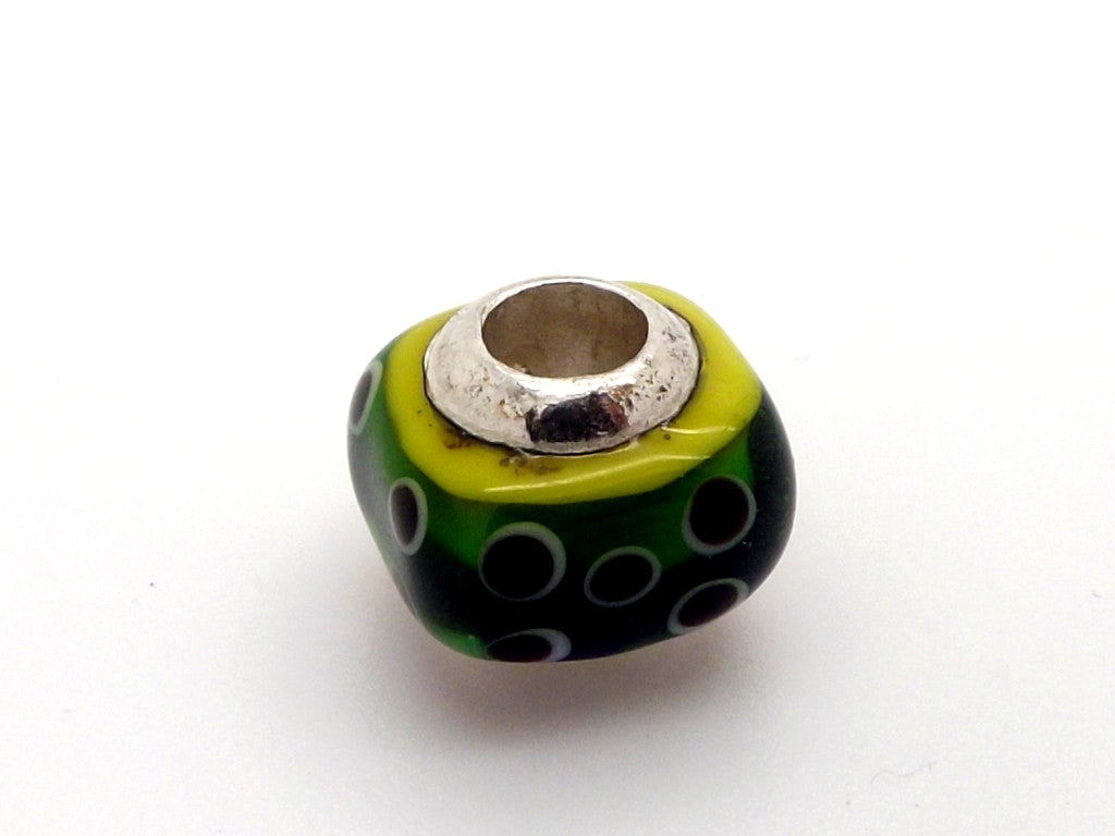 Charmlinks Green Patterned Square Bead - Exclusive Bead Store