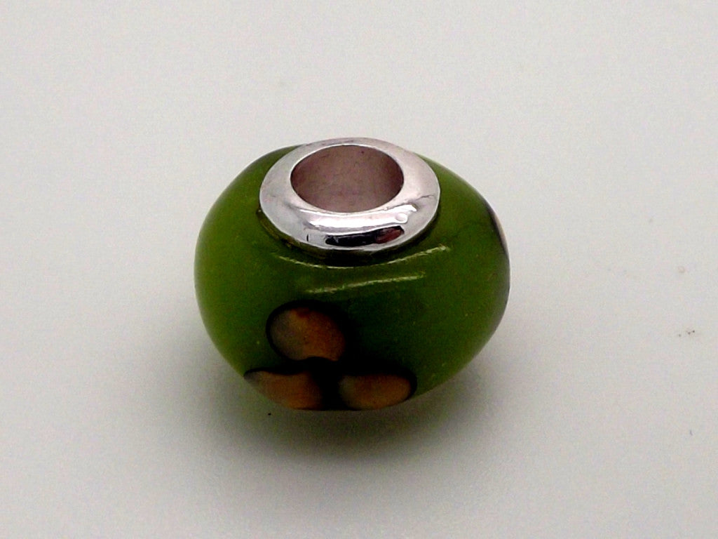 Charmlinks Green Petal Patterned Bead - Exclusive Bead Store