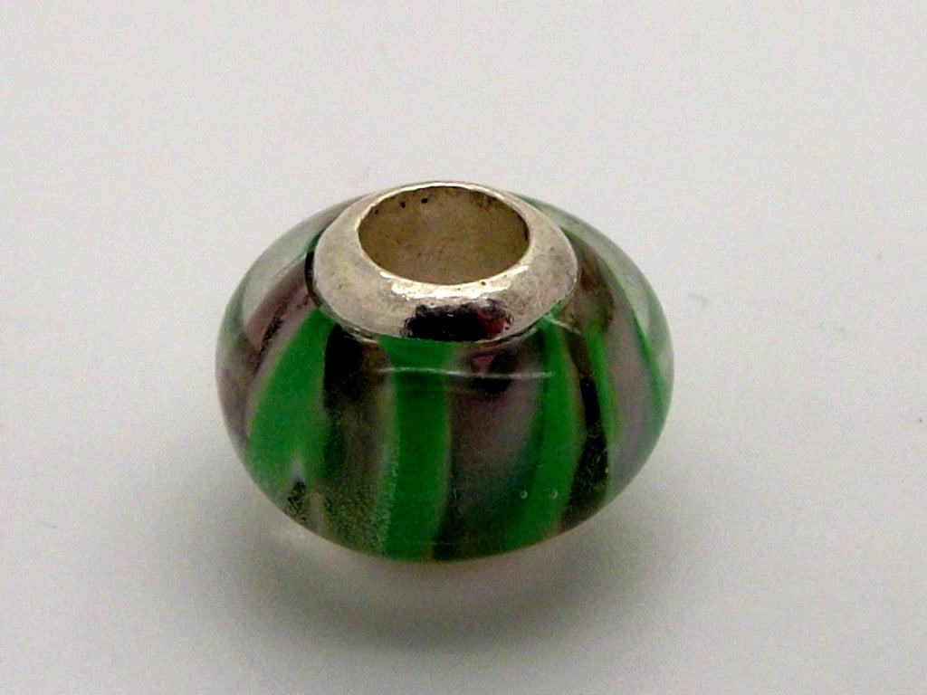 Charmlinks Green Striped Patterned Bead - Exclusive Bead Store