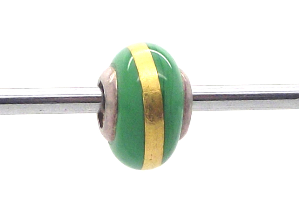 Charmlinks Green & Gold Bead - Exclusive Bead Store