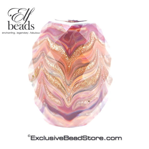 Elfbeads Coral Golddust Feather Barrel Fractal