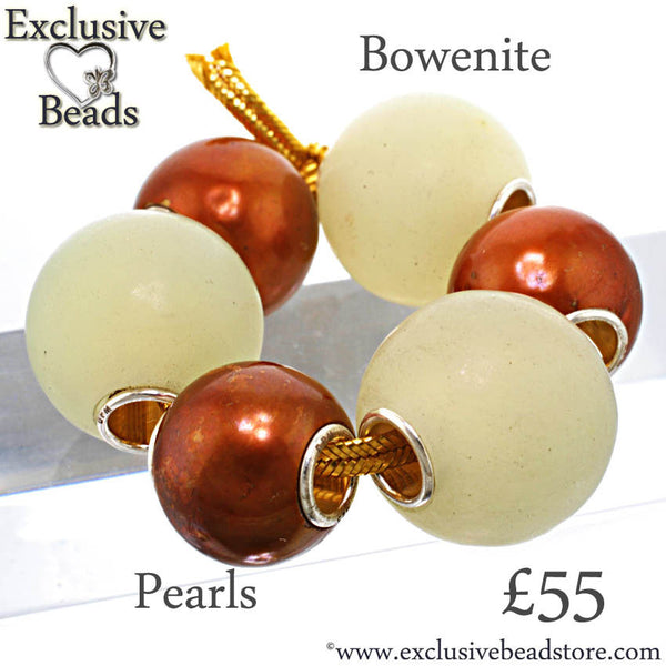 Exclusive Beads Bowenite Stone & Pearl Bead Set