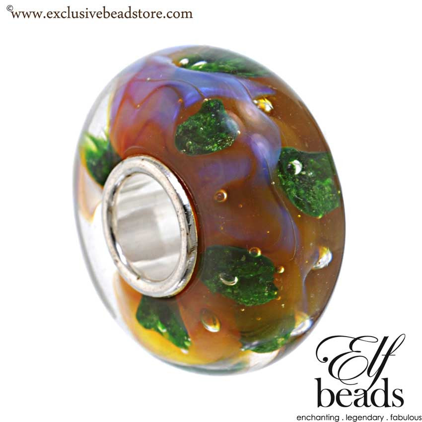 Elfbeads Halo Universe Green Glass Bead