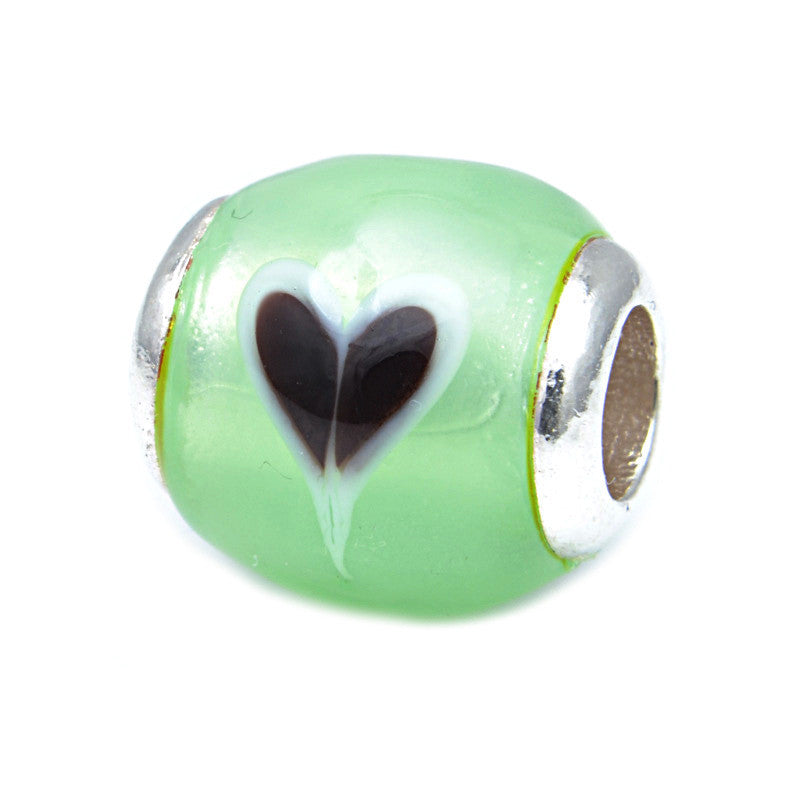 Charmlinks Glass Bead Green Love - Exclusive Bead Store