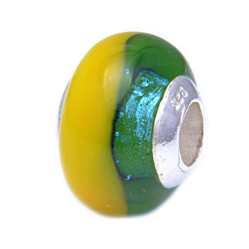 Charmlinks Glass Bead Green Wagtail - Exclusive Bead Store