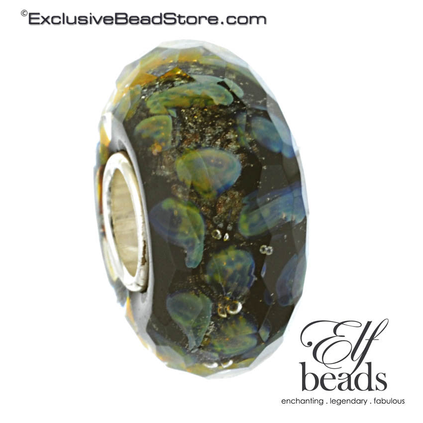 Elfbeads Retired Halo Goldmine Fractal (Faceted) Glass Bead
