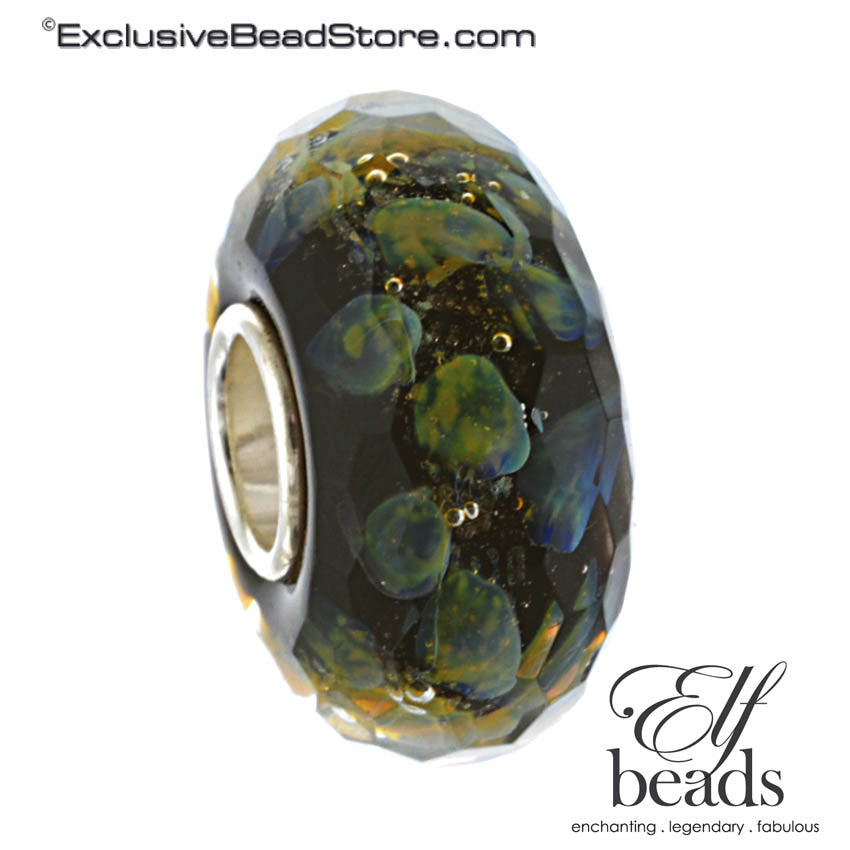 Elfbeads Retired Nebula Goldmine Fractal (Faceted) Glass Bead