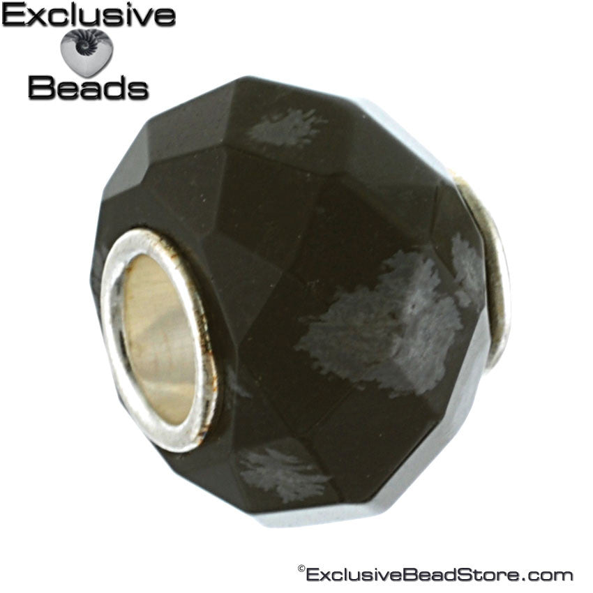 Exclusive Faceted Black Obsidian Stone Bead