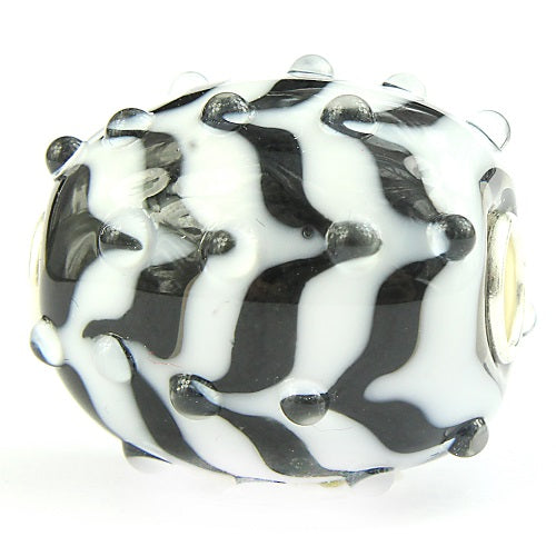 Elfbeads Zebra Feather Barrel