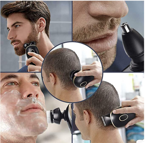 Man using the FactCare™ 5 in 1 Rechargeable Cordless Bald Head Clipper Shaver