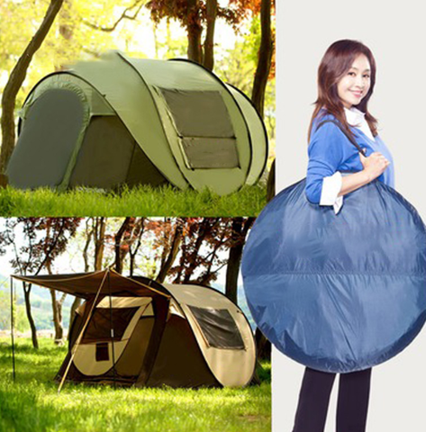 A lady carrying the portable bag of FactCore™ Portable Automatic Camping Pop-up Tent