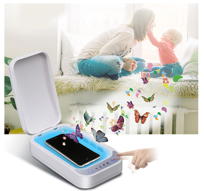 A mother and child with FactCare™ Portable UV Light Sterilizer Disinfection Box Cleaner