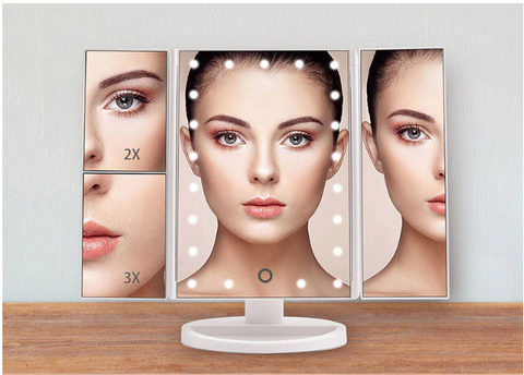 FactBeauty™ Trifold Magnifying Vanity Makeup Mirror With 22 Led Lights in color White