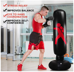 A man punching the FactFit™ Home Fitness Inflatable Punching Bag