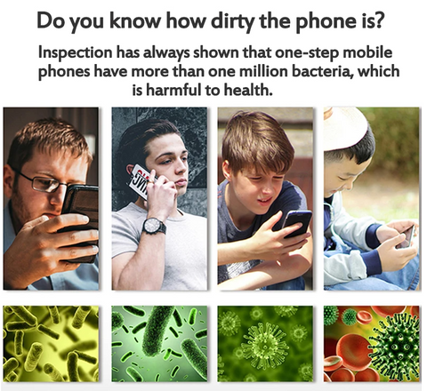 A group of people using mobile phone and a picture of germs, bacteria, and viruses
