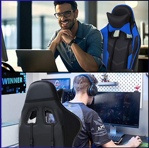 A man using FactDesign™ High Back Gaming Chair with Footrest