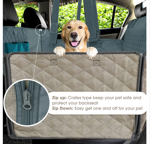 A dog using the FactPet™ Waterproof Back Seat Dog Cover Hammock For Car