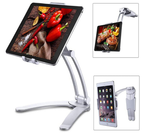 FactCare™ Wall Pull-up Lazy Bracket Phone Tablet Holder in color silver
