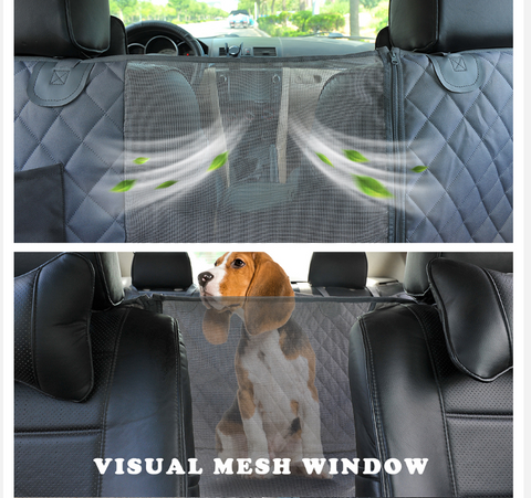 A dog inside a car using the FactPet™ Waterproof Back Seat Dog Cover Hammock For Car